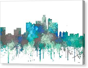 Canvas Print featuring the digital art Los Angeles California Skyline by Marlene Watson