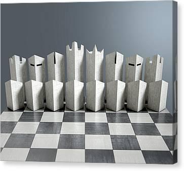 Modern Chess Set  Canvas Print by Allan Swart