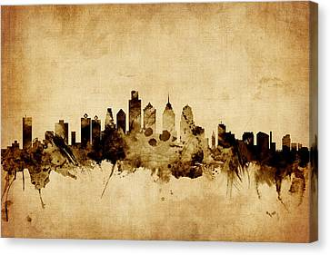 Philadelphia Pennsylvania Skyline Canvas Print by Michael Tompsett