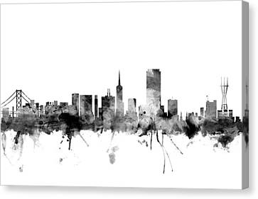San Francisco City Skyline Canvas Print by Michael Tompsett