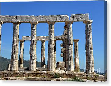 Monument Canvas Print - Temple Of Poseidon by George Atsametakis