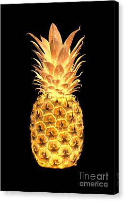 14g Artistic Glowing Pineapple Digital Art Gold Canvas Print by Ricardos Creations