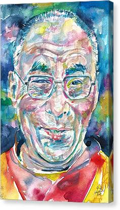 Tibetan Buddhism Canvas Print - 14th Dalai Lama - Tenzin Gyatso - Watercolor Portrait.4 by Fabrizio Cassetta