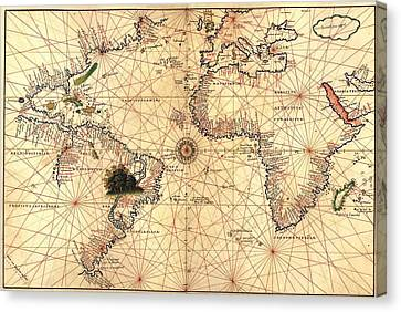 1544 Nautical Map Of The Atlantic Canvas Print