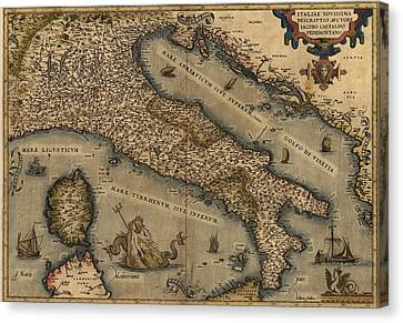 1570 Map Of Italy  From Abraham Canvas Print by Everett