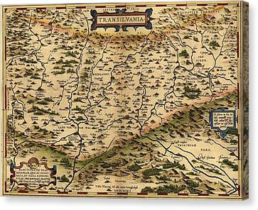 1570 Map Of Transylvania, Now Canvas Print by Everett