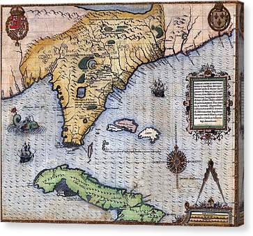 1591, Exploration Era Map Of Florida Canvas Print by Everett