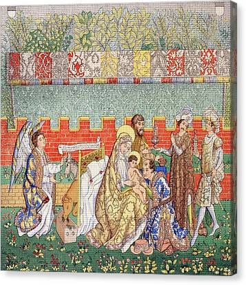 15th Century Tapestry Of The Adoration Canvas Print by Vintage Design Pics