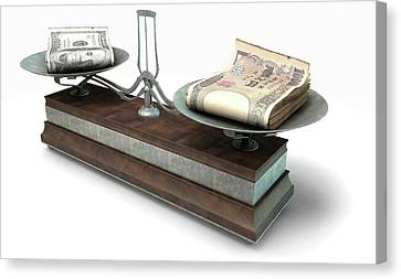 Aged Wood Canvas Print - Balance Scale Comparison by Allan Swart