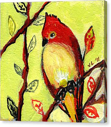 Cardinal Canvas Print - 16 Birds No 3 by Jennifer Lommers