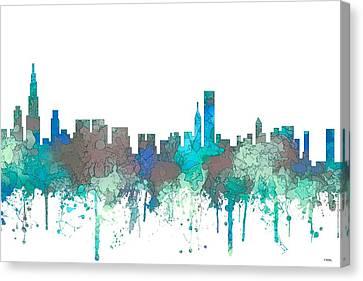 Canvas Print featuring the digital art Chicago Illinois Skyline by Marlene Watson