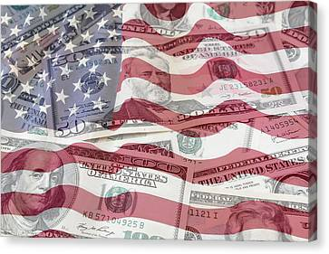 Usa Finance Canvas Print by Les Cunliffe