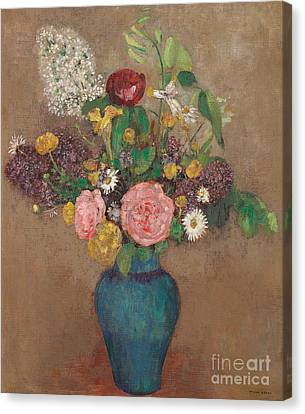 Ceramics Canvas Print - Vase Of Flowers by Odilon Redon