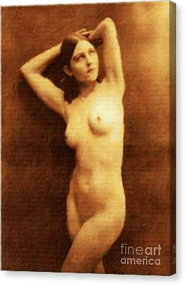 Vintage Style Nude Study, Erotic Art By Mary Bassett Canvas Print by Mary Bassett