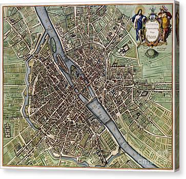 1657 Plan Of Paris Canvas Print by Jon Neidert