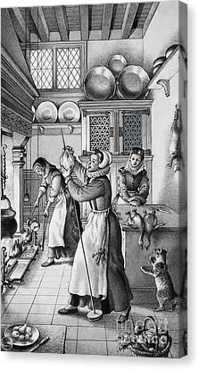 16th Century Kitchen Canvas Print by Pat Nicolle