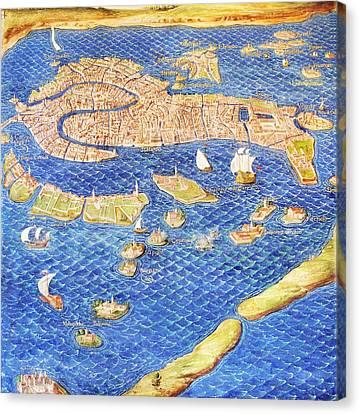 16th Century Map Of Venice Canvas Print