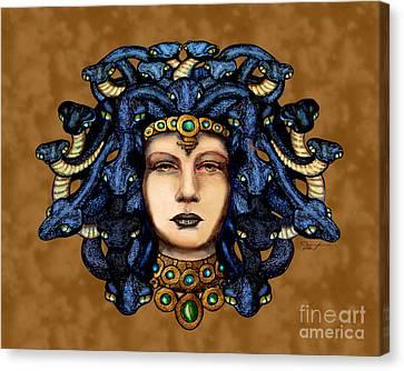 16x20 Medusa 2 Blu Gold Canvas Print by Dia T
