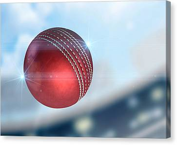 Ball Flying Through The Air Canvas Print by Allan Swart
