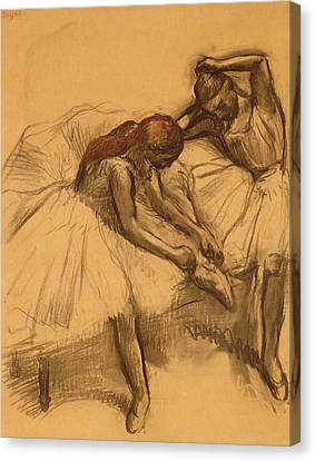 Tying Shoe Canvas Print - Two Dancers by Edgar Degas