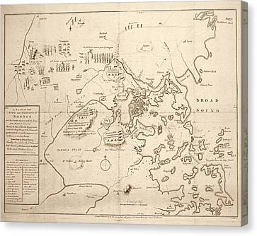 1700s City Planning Map Boston Ma Sepia Canvas Print by Toby McGuire