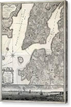 Etc Canvas Print - 1766 Map Of New York City by Jon Neidert