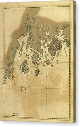 1776 Maine Coast Map Canvas Print