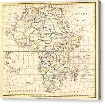 1799 Clement Cruttwell Map Of Africa Canvas Print by Celestial Images