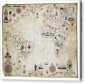 17th Century Nautical Map Of The Atlantic Canvas Print by Library Of Congress