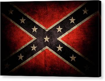 Weathered Canvas Print - Confederate Flag by Les Cunliffe