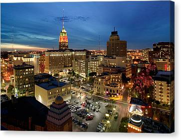 High Angle View Of Buildings Lit Canvas Print