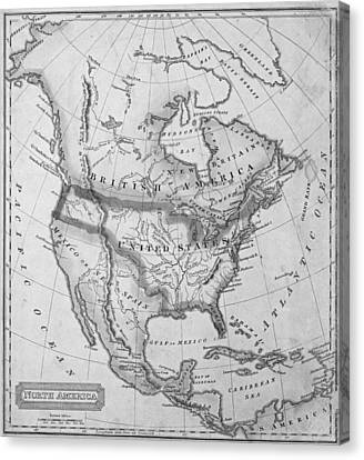 Antique Map Canvas Print - 1822 Map Of North America Black And White by Toby McGuire