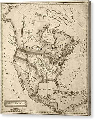 Antique Map Canvas Print - 1822 Map Of North America Sepia by Toby McGuire