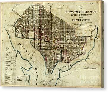 1822 Map Of Washington Dc Canvas Print