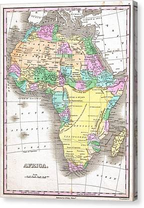 1827 Finley Map Of Africa Canvas Print by Celestial Images