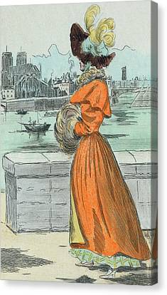 1830 Paris France Fashion Drawing Canvas Print
