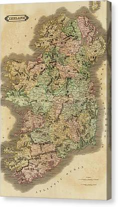 1831 Ireland Vintage Map Canvas Print
