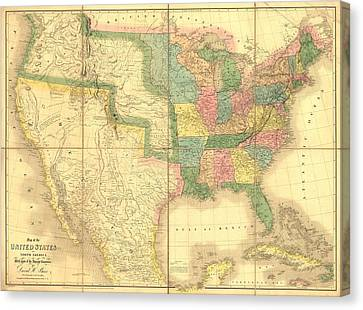 1839 Map Showing Us-mexican Boundary Canvas Print by Everett