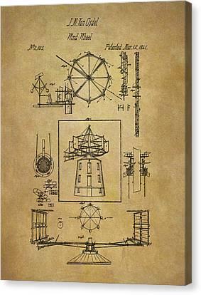 1841 Wind Wheel Patent Canvas Print