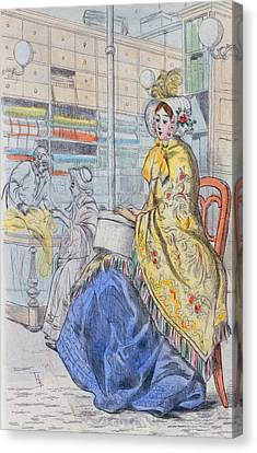 1847 Paris France Fashion Drawing Canvas Print