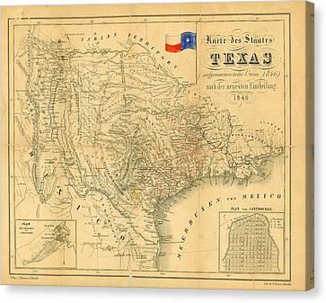 Arkansas Canvas Print - 1849 Texas Map by Dan Sproul