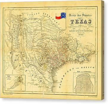 Dallas Canvas Print - 1849 Texas Map by Bill Cannon