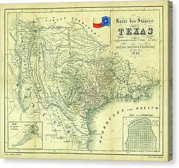 1849 Texas Map Canvas Print by Jon Neidert