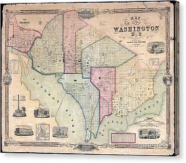 1851 Washington Dc Map Canvas Print