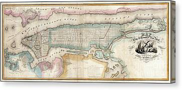 1852 New York City Map Canvas Print by Jon Neidert