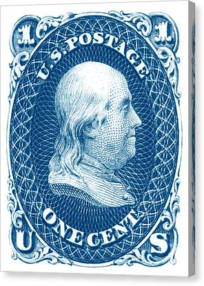 Canvas Print featuring the painting 1861 Benjamin Franklin Stamp by Historic Image