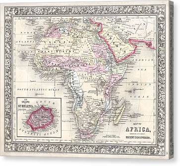 1864 Map Of Africa Canvas Print by Celestial Images