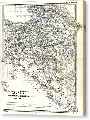 1865 Map Of The Caucasus And Iraq In Antiquity Canvas Print