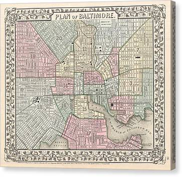 1867 Map Of Baltimore Maryland Canvas Print by Celestial Images