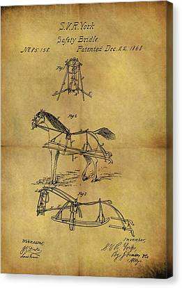 1868 Horse Bridle Patent Canvas Print by Dan Sproul